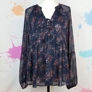 KNOX ROSE Navy Blue Sheer Lined Blouse Women's XXL